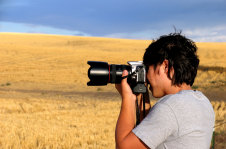 Photographer in farm